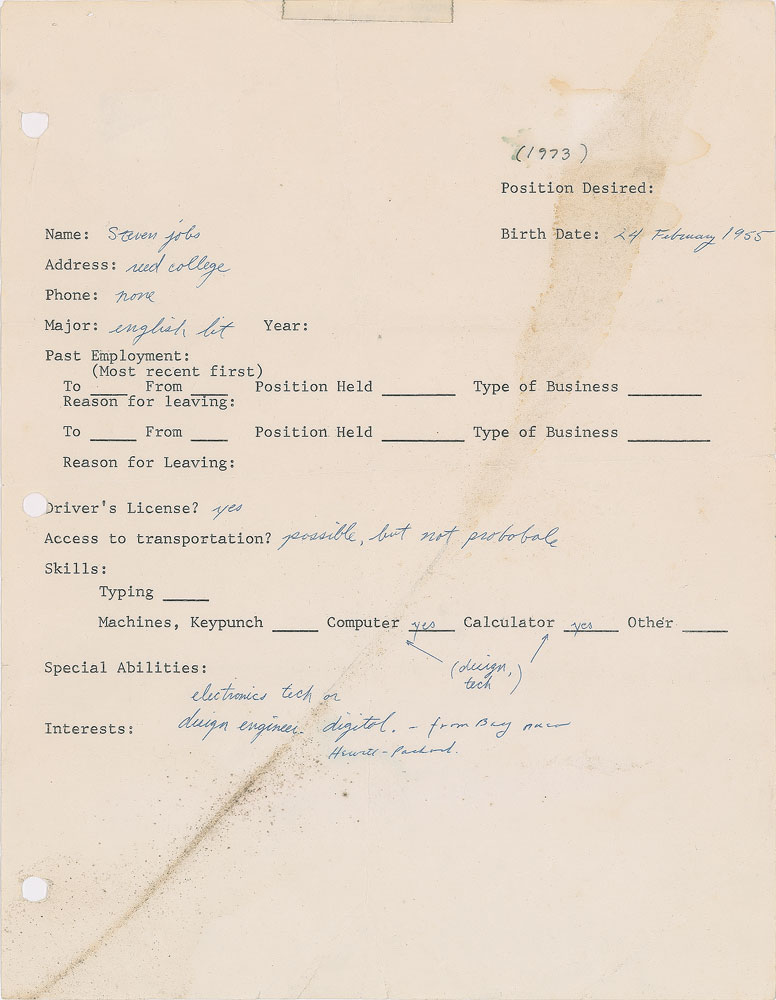 Steve Jobs' 1973 Job Application Written 3 Years Before He Founded Apple